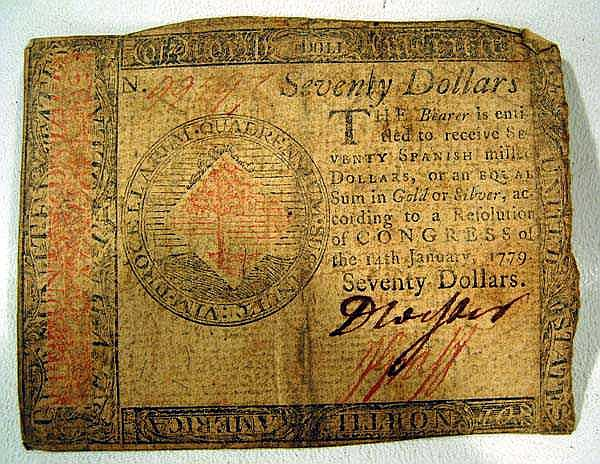 Continental REVOLUTIONARY WAR $70 Note Currency Bill American