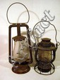 2 Pc. Antique RAILROAD LANTERNS Dietz Hot Blast Fitall Globe Vesta NYCS