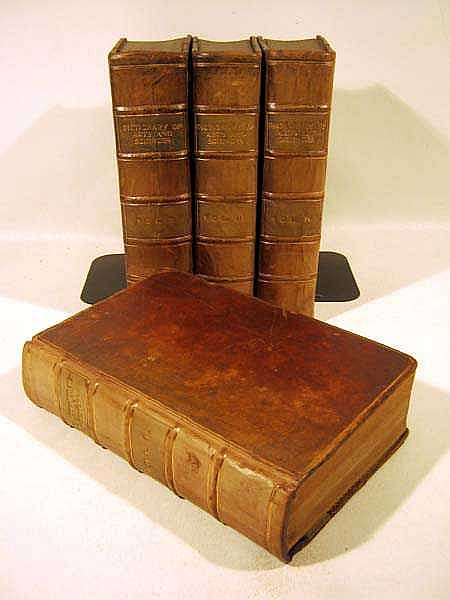 4V A NEW AND COMPLETE DICTIONARY OF ARTS AND SCIENCES 1763-1764 Antique Reference Leather Binding (Fold-Out) Plates