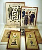6 pc. Antique FASHION & COSTUME PRINTS Hand-Tinted Framed Italian Engravings Men's Women's Early 20th C. Clothing Advertisements