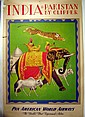Vintage Air Travel PAN AM WORLD AIRWAYS POSTER Original Charles Baskerville 1949 Clipper Plane India Pakistan Elephant Tiger Rajah Mahout