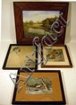 4 Pcs. Antique Framed ORIGINAL ART Watercolor Drawing Oil Painting Print Landscape Portrait