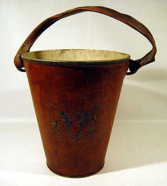 Antique Leather-Clad Steel FIRE FIGHTING BUCKET Coat of Arms