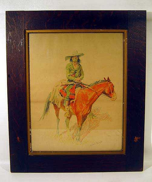 ORIGINAL LARGE ANTIQUE REMINGTON PRINT TITLED