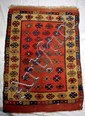 Antique ORIENTAL RUG Hand Woven Knotted Tribal 3.5'x6' Natural Dyes Wool Red Gold Brown Blue