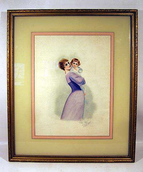 Ida Waugh MOTHER AND CHILD c1890 Artist-Signed Original Watercolor In Gilt Frame Work Of Prolific American Illustrator Of Children's Literature
