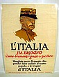 Antique AMERICAN WORLD WAR ONE POSTER IN ITALIAN General Italy Has Need of Meat George Illian 1917 U.S. Food Administration Conservation