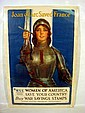 Antique WORLD WAR ONE POSTER Joan of Arc Saved France American Women Buy War Savings Stamps 1918 Haskell Coffin