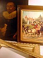4 Pc. Antique Picture Frames ORIGINAL OIL PAINTING Reproduction Victorian Print Gilt Gesso 17th C. Gentleman Portrait