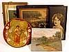 5 Pc. Antique ORIGINAL ART, PRINTS, + CURRIER & IVES Civil War Lithograph Chancellorsville 1863 German Catholic First Communion Landscape Oil Painting