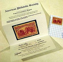 2Pcs United States Postage1893 COLUMBIAN EXPOSITION ISSUE Stamp Perf 12 Two Dollars Brown Red Mint Condition Original Gum American Philatelic Society Expert Committee Report