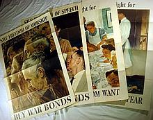 4Pcs WWII Propaganda ORIGINAL VINTAGE NORMAN ROCKWELL FOUR FREEDOMS POSTERS 1943 Save Worship & Speech From Want & Fear OWI Government Printing Office Ours To Fight For