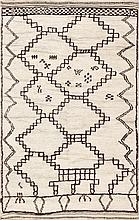 Vintage Ivory and Brown Moroccan Rug