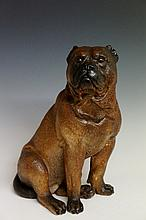 A Continental painted terracotta model of a Mastiff, realistically modelled, glass eyes, 35 cm high, late 19th / early 20th Century (faults)