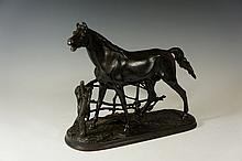 Pierre Jules Mêne (after) - Stallion Before Fence, cast iron, 28 cm high, 37 cm wide, bearing Russian stamps, late 19th / early 20th Century