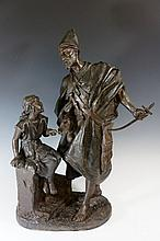 Henry. Weiss (after A Hirsch) - Arab man and young girl, spelter, 60 cm high, 44 cm wide max, late 19th / early 20th Century