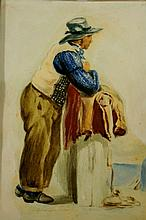 English School, early 19th Century - Sailor leaning on a column, watercolour heightened with bodycolour, 25 cm x 17 cm, framed