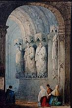 Samuel Prout (after) - A cathedral interior with figures, 13.5 cm x 9.5 cm, framed