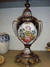 CONTINENTAL ORMOLU MOUNTED PORCELAIN VASE & COVER