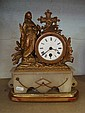 ALABASTER BASED GILT MANTLE CLOCK WITH FRENCH