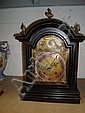 BRASS FACE EBONISED CASED MANTLE CLOCK