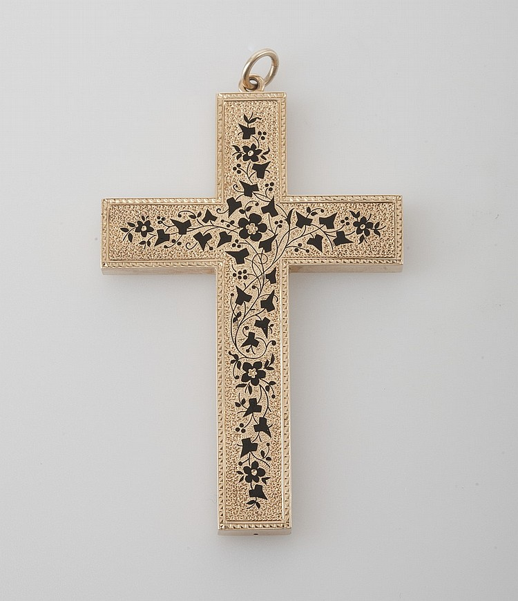 VICTORIAN 14K GOLD AND ENAMEL CROSS.