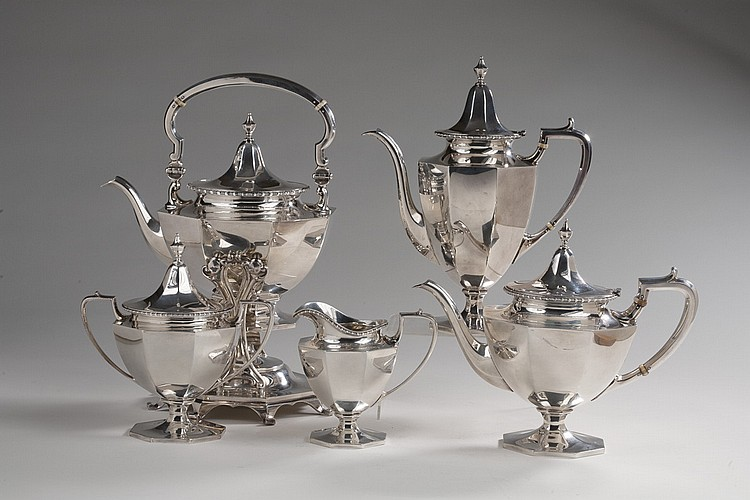 AMERICAN SILVER FIVE-PIECE TEA AND COFFEE SERVICE, ROGER WILLIAMS SILVER CO., PROVIDENCE, 1900-13.