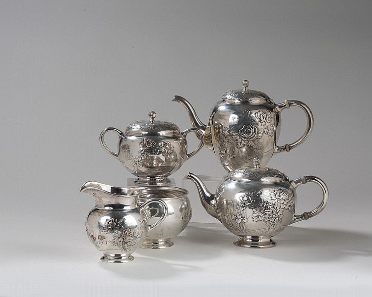 AMERICAN SILVER AND MIXED METALS JAPANESQUE FIVE-PIECE TEA AND COFFEE SERVICE, GORHAM MFG. CO., 1897.