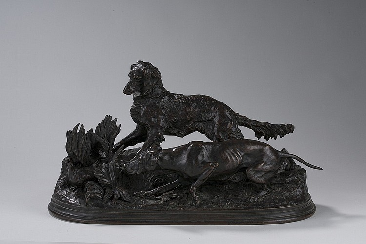PIERRE JULES MENE (FRENCH1810-1879). BRONZE FIGURAL GROUP OF A SETTER AND POINTER FLUSHING A PARTRIDGE,