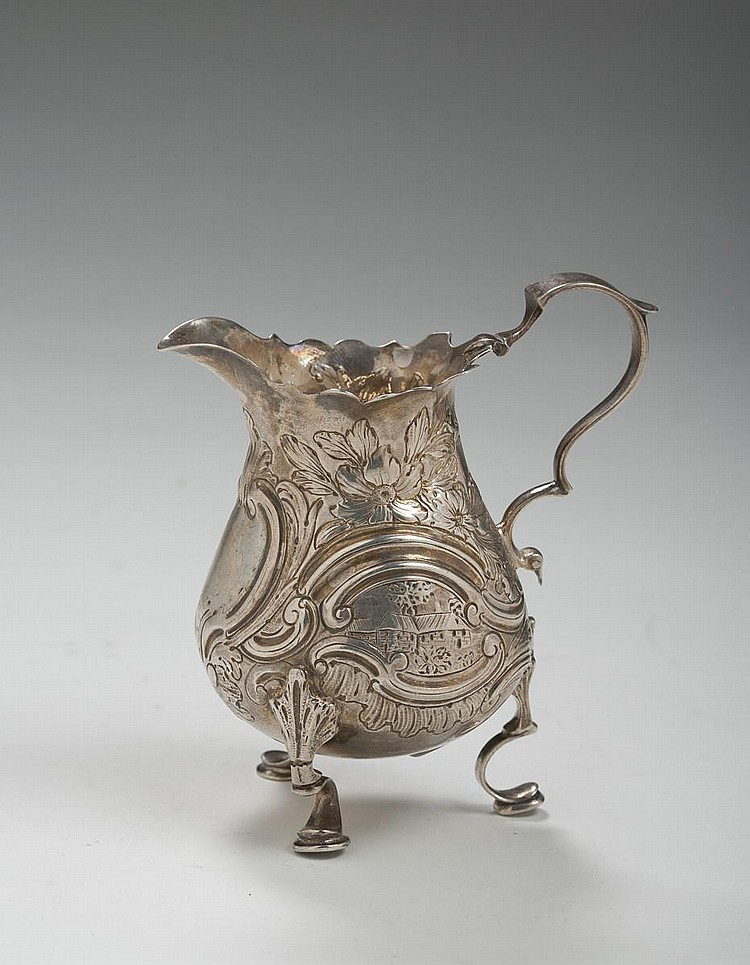GEORGE II SILVER CREAM JUG, RICHARD GOSLING, LONDON, 1753-54.