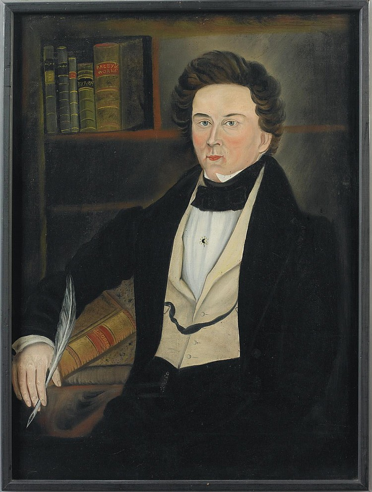 Asahel Powers (1813 - 1843), attributed A young man in a yellow vest seated at his desk holding a quill pen, a portrait of Abel Fisk Farrar Worcester, Massachusetts (later Rindge, NH), c.1835 Oil on canvas, 34 1/2
