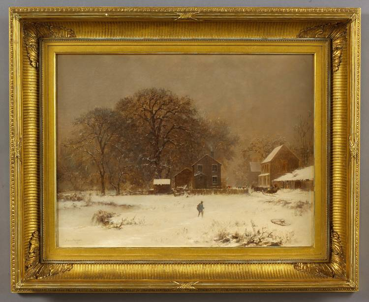 JOSEPH MORVILLER (AMERICAN 1800-1870). WINTER SNOW SCENE WITH TRAVELERS AND SLEIGH.