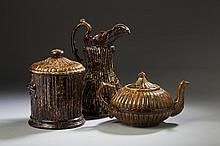 BENNINGTON FLINT ENAMEL 'ALTERNATE RIB' PATTERN TOBACCO JAR AND WASH PITCHER, 1849-58.