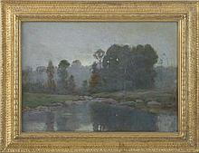 TONALIST LANDSCAPE WITH WOODS AND STREAM.