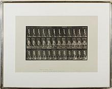 EADWEARD MUYBRIDGE (BRITISH 1830-1904). WOMAN WALKING WHILE CARRYING BUCKETS FROM
