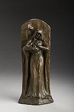 BRONZE PLAQUE WITH FIGURE OF THE MADONNA AND CHILD. ATTRIBUTED TO EDWIN T. CHURCHMAN (AMERICAN 1904-1969).