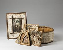 SIX BIRCH BARK OBJECTS COMPRISING FIVE SMALL FRAMES AND A BUCKET.