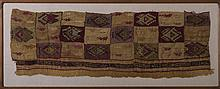 LARGE PROTO-NAZCA CULTURE, PERU EMBROIDERED TEXTILE FRAGMENT DEPICTING CATS AND TREE FROGS, CIRCA 400-100 B.C.