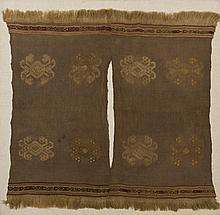 CHANCAY, PERU WOVEN AND EMBROIDERED CHILD'S PONCHO.