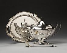 AMERICAN SILVER 'PLYMOUTH' PATTERN TUREEN, COVER AND STAND, AND A SILVER-GILT 'NORFOLK' PATTERN LADLE, GORHAM MFG. CO., CIRCA 1906.