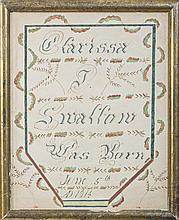 WATERCOLOR BIRTH RECORD FOR CLARISSA J. SWALLOW, BORN JUNE 5TH A.D. 1814.