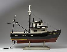 POLYCHROME-PAINTED WOOD SHIP MODEL OF THE LOUISIANA SHRIMPER