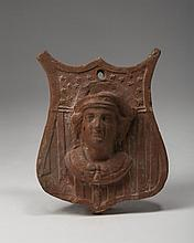REDWARE MATCH HOLDER WITH BUST OF CHRISTOPHER COLUMBUS, SIGNED J. G (R?)EGORY BURNER, 1892.