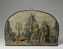 FOLK ART CARVED AND POLYCHROME-DECORATED DIORAMA OF A HUNTER AND HIS DOG IN PURSUIT OF A DEER.