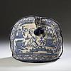 ENGLISH BEADED BERLIN WORK BLUE AND WHITE CHINOISERIE TEA COZY, THIRD QUARTER NINETEENTH CENTURY.