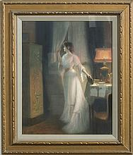 H. PASQUIER (FRENCH, ACT. EARLY TWENTIETH CENTURY). WOMAN IN WHITE AT A WINDOW.