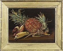 SAMUEL A. KILBOURNE (AMERICAN 1836-1881). STILL-LIFE WITH PINEAPPLE AND BANANAS.