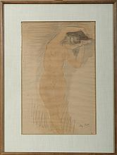 STANDING NUDE HOLDING A BABY ON HIGH. ERNST DURIG AFTER AUGUSTE RODIN.