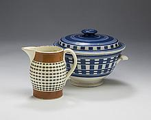 BRITISH CREAMWARE MOCHAWARE TWICE-DIPPED MAKE-DO MUG, CIRCA 1800; AND A FRENCH WHITEWARE SERVING DISH AND COVER, MID-NINETEENTH CENTURY.