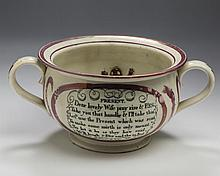 SUNDERLAND TRANSFER-PRINTED, ENAMEL-DECORATED AND PINK LUSTRE 'MARRIAGE' AND 'PRESENT' HUMOROUS CHAMBER POT, CIRCA 1830.